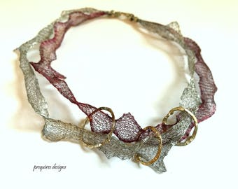 Adjustable mesh choker with 3 sterling silver rings necklace