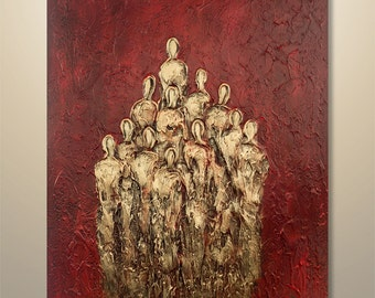 "Abstract Painting Acrylic Original Modern Heavy Textured Painting 3D Art by Gabriela 40""x30"" Figures  Modern Abstract Painting red gold"