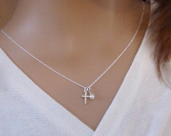 TINY cross necklace - Girl's First Communion, Goddaughter gift - Small Sterling Silver cross necklace - Photo NOT actual size