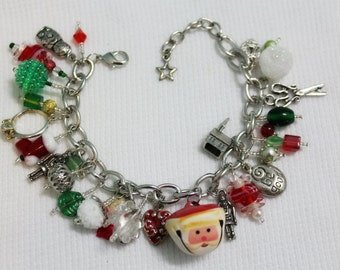 christmas charm bracelet with vintage santa