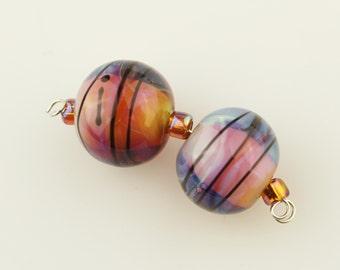 SRA Lampwork Glass Bead Set  Earring Pair Iridescent Hot Pink Ivory