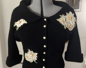 GORGEOUS 1950's Black Pearl and Rhinestone Applique Cardigan Sweater 3/4 Sleeves