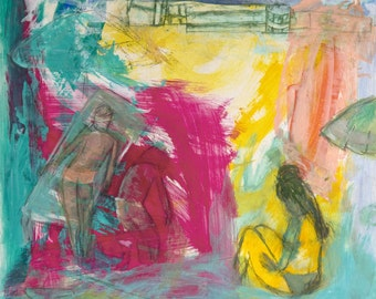 Abstract painting Print, fuchsia orange, turquoise green, two girls, summer pool, modern wall art, print by Ana Gonzalez