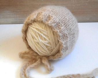 "Newborn Baby Bonnet in ""Wheat""/Knit Newborn Bonnet/Baby Hat/Baby Bonnet/Newborn Photo Prop/ Newborn Bonnet/Newborn Hat"