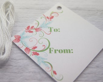Tags Christmas Gift Tag Flourish Holiday  T563