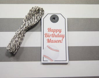 Birthday Tags Baseball Tags Gift Tags Wish Tree Tags Favor Tags Set of 12 Tags  Personalized - wip12
