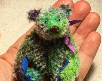 Miniature Hand Sewn 2-3/4in. RAINBOW Tie-Dyed Mohair Teddy Bear