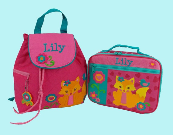 Child's Personalized Stephen Joseph Toddler FOX Backpack and Lunchbox School Set-Monogramming Included