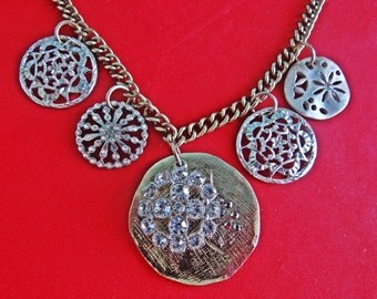 "Heavy and high end Vintage 18.5"" gold and silvertone necklace with rhinestone pendants in great condition, largest pendant 1.5"""