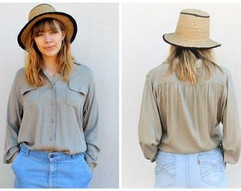 vintage work shirt | 80s blouse | rayon small - medium