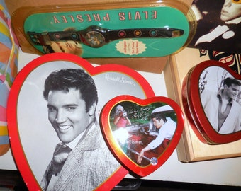 Elvis Candy  Heart Tins  / My Heart And Time Belongs To Elvis Collectibles /  OOOO That Smile