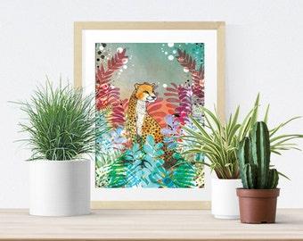 Tropical Safari Cheetah Art Print - Gift for Animal Lovers - Modern Wall Art - Home- Jungle Print - Wildlife- Big Cat Artwork-  A4 A3 Print
