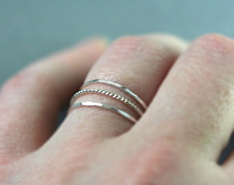 Set of 3 - Skinny Stack rings -  Sterling Silver twist and hammered band set - Rope stack set, treads of silver, thin ring,