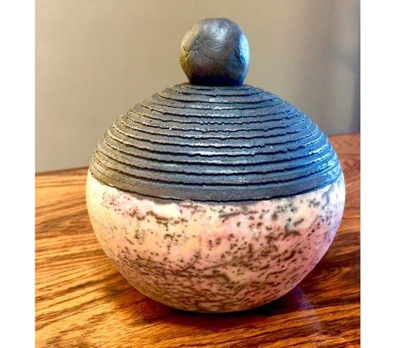 Naked Raku Container. Ceramic Raku Urn. Organic Zen Pot.  Nature Inspired Ceramic Vase.  Raku White Crackle Urn.