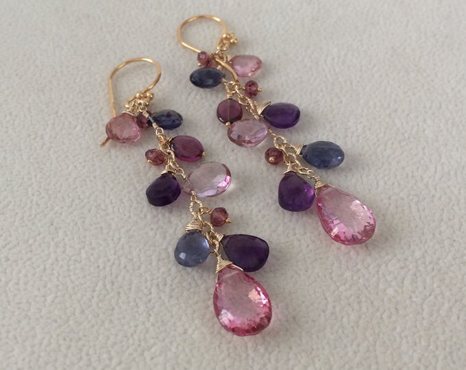 Red Semiprecious Gemstone Earrings in Gold Vermeil, Mystic Pink Topaz, Mystic Pink Quartz, Iolite, Rhodolite Garnet, Amethyst