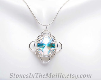 Swarovski Necklace - Argentium Sterling Chainmail Necklace - Crystal Necklace - Girlfriend Necklace - Swarovski Crystal - Swarovski Pendant