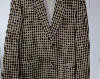 comme des garcons homme plus polyester check blazer plaid tartan X XL 44L 44 men