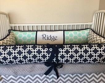 Baby bedding crib sets Navy blue mint polkadot  grey Gray chevron nursery boy DEPOSIT Down payment ONLY