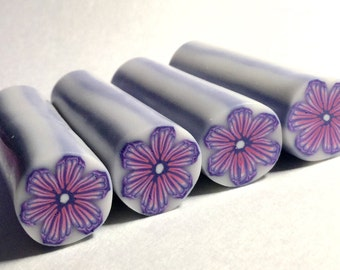 Polymer Clay Cane, Pink and Purple Flower, Raw, Unbaked Clay