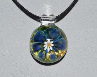 Heady Glass Trippy Pendant - Hand Blown Dichroic Glass Jewelry - Boro Lampwork Gold Flower