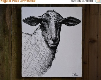 HAPPY 2017 SHEEP - 30x36 - Farmhouse Chic - French Country - reclaimed wood - RuPiper Designs Original