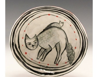 Holiday Sale Hitchhiker - One of a Kind original painting by Jenny Mendes in a ceramic pinched finger bowl
