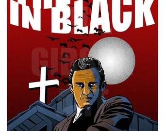 "Original ""The Man in Black"" Johnny Cash Art Print Horror Poster"