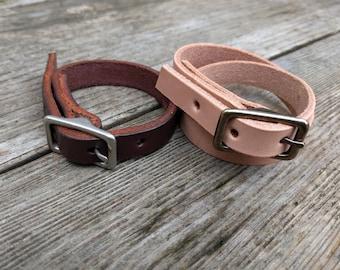 Single Wrap Leather Buckle Bracelet