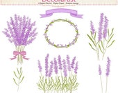 ON SALE Flowers clipart, Lavender clipart, frame clipart,lavender bouquet, label flowers clipart, INSTANT Download
