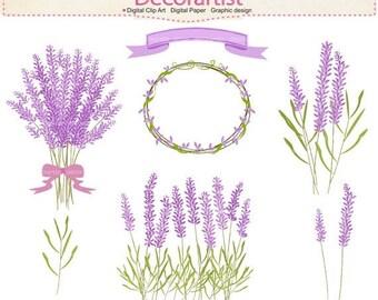 ON SALE Flowers clipart, Lavender clipart, frame clipart,lavender bouquet, label flowers clipart, INSTANT Download