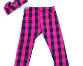Leggings- Pink and Black Buffalo Plaid Leggings