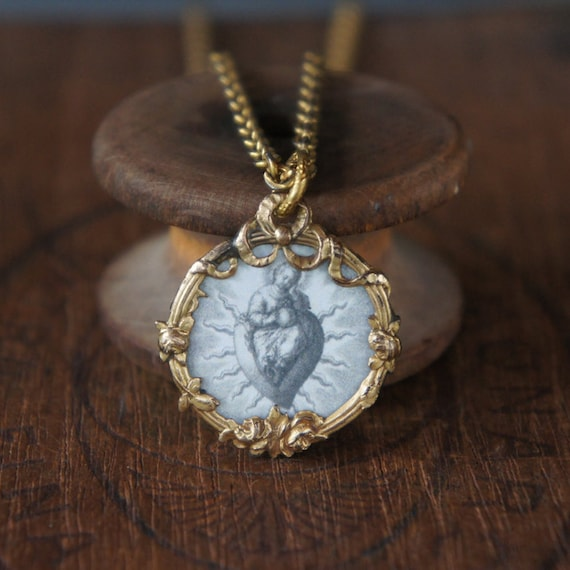 Antique Assemblage Necklace with Ornate French Picture Pendant Sacred Heart