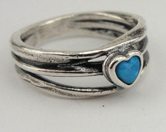 Opal Heart Ring, Silver Ring, Blue Opal Ring, Opal Heart, Simple silver Ring, Promise Ring, Ring size 7.5, Engagement Ring, Gift, Under 50
