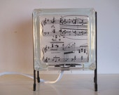 Music Score Lamp FREE SHIPPING black and white upcycled handmade glass block night light piano lamp gift for musician gift for singer