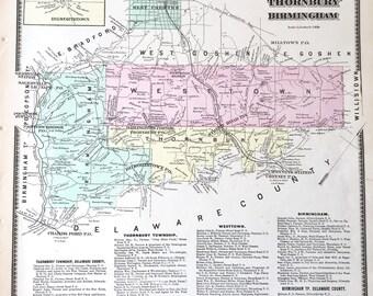 Original 1873 Chester County Atlas map of Westtown Thornbury Birmingham Dilworthtown West Chester
