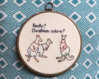 """SALE! Christmas Kangaroo Fashion Hand Embroidery - 8"""" Hoop"""
