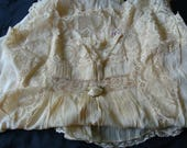 Vintage Flappers Nightgown ~ Champagne colored w/ French Lace ~ Silk Rose Bud