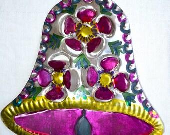 "Vintage Mexican Tin Christmas Ornament - 6"""