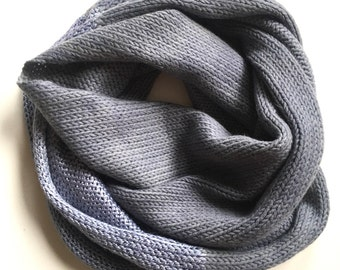 Denim Blue Cashmere & Silk Blend Infinity Scarf // Hand dyed and handmade