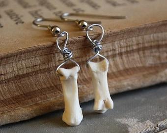ON SALE Bone Earrings - Halloween Earrings