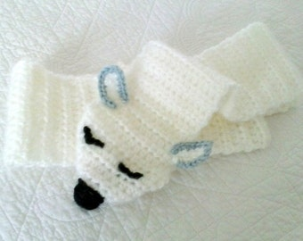 Children's lamb scarf Sleepy little lamb Hand knit kids scarf Winter scarf for kids Kid gift