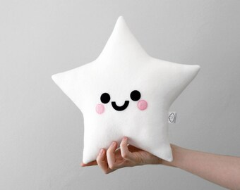 White Star Plush, Fleece Pillow, Space Accessory, Kawaii Nursery Cushion
