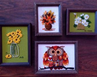 Set of 70s Vintage Framed Crewel Wall Decor Floral and Owl