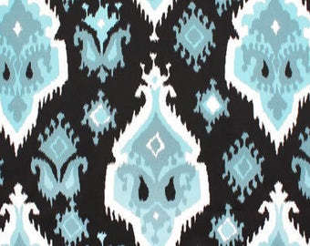 NS, Pleated drapes, Ikat regatta blue and white, lined, moroccan, designer custom made curtain panels,