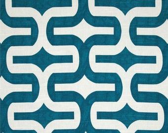 "Embrace, geometric, aquaris aqua blue and white, Fabric shower curtain, 72"", 84"", 90"", 96"", 108"" custom sizes available"