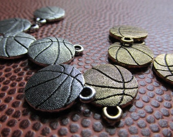 Remaining Stock, Gold or Silver Basketball Charm, Pewter Basketball charm, basketball, ball, sports charm, sports charms