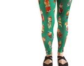 Retro Elves Leggings - photographic knee-hugging elves - ankle length - printed novelty Christmas leggings