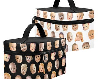 Doll Head Toiletry Bag - Gothic Dopp Kit - large zippered makeup bag - waterproof