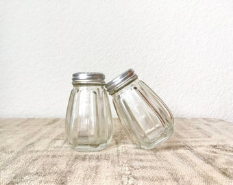 Antique Glass Salt and Pepper Shakers by Hazel Atlas