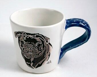 Pretty Black Pug Mug in White and Blue